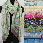 Women's Flower Birds Print Mantilla Soft Long Scarf Shawl Wrap Stole 14 Colors