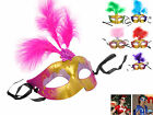 Women Mardi Gras Masquerade Ball Costume Halloween Party Eye Mask With Feather
