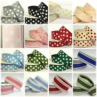 Full Reel Twill Ribbon Polka Dotty Spotty Stripes 15mm and 22mm