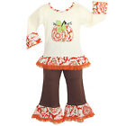 AnnLoren Girls Autumn Pumpkin Patch Outfit 6/9 mo-9/10