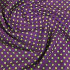 Printed Funky Poly Cotton material fabric PURPLE with GREEN spots 110cm wide