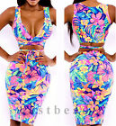 HOT SEXY Deep V Floral Bodycon Bandage Cocktail Evening Party Club Dress 2 Piece