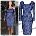 Womens Sexy Lace Bodycon Cocktail Party Formal Wedding Pencil Dresses Size 81024