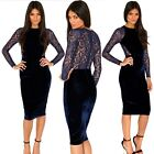 Dark Blue Floral Lace Velvet Hip-wrapped Womens Cocktail Party Pencil Dress New
