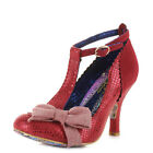 WOMENS IRREGULAR CHOICE BLOXY RED METALLIC T BAR ANKLE STRAP COURT SHOES SIZE