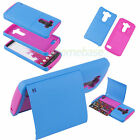 Blue/Rose Hybrid Card Case Stand Hard Impact Silicone PC Cover For LG Optimus G3