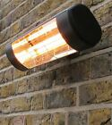 1.5kW Wall Mounted Electric Infrared Halogen Patio Heater IP55 Black Outdoor