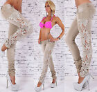 Sexy Women's Denim Beige Skinny Jeans Crochet  Lace Party Jeans UK Size 6-14