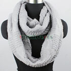Winter Warm Soft Thick Wool Knit Infinity 2-Loop Cowl Circle Solid Color Scarf