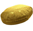 pd1022r Gold Faux Crocodile Glossy Leather Round Thick Cushion Cover Custom Size