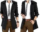 Vogue Leader Men's Slim Chic Double Breasted Leisure Long Jacket Overcoat Magic