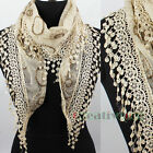 Delicate Circle Pattern Embroidery Lace Tassel Trim 2-Layer Triangle Scarf