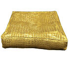 pd1022t Gold Faux Crocodile Glossy Leather 3D Box Seat Cushion Cover Custom Size