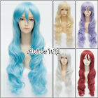 Stylish 80cm Long Curly 15 Different Colors Women Girl Anime Cosplay Wig+Wig Cap