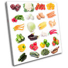 Vegatables Collage Food Kitchen SINGLE CANVAS WALL ART Picture Print VA
