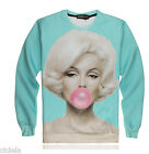 Women 3D Printed Sweatshirts Marilyn Monroe Blowing Bubble Pullover T-Shirt Tops