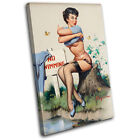 Vintage Girl Retro Pin-ups SINGLE CANVAS WALL ART Picture Print VA
