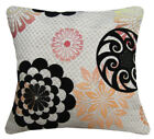 Qb301aa Khaki Black Lt.Orange Linen Blend Flower Cushion Cover/Pillow Case Size