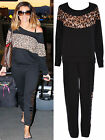Women Ladies Celeb Off Shoulder Leopard Print Jogging Suit Tracksuit Bottom Top
