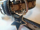 NEW SOLD OUT COACH 61354 NAVY COACH SIGNATURE STAR LEATHER SMALL DOG COLLAR S