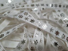 Christmas Grosgrain Ribbon Bertie`s Bows Silver Snow Flake on White 9mm BTB052