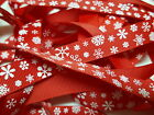 Christmas Grosgrain Ribbon Bertie`s Bows White Snow Flake on Red 16mm BTB053
