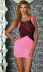 Sexy Fuchsia Mesh Criss-Cross Detail Cocktail Party Clubwear Tank Mini Dress