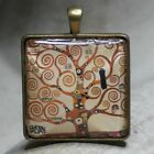 SQUARE GLASS TILE PENDANT/ART/GUSTAV KLIMT/THE TREE OF LIFE