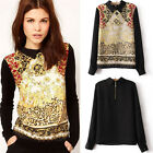 1x Vintage Women Casual Chiffon Long Sleeve Flower T-Shirt Blouse Tops Low-Price