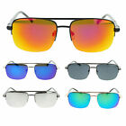 Mens Color Mirro Lens Metal Half Rim Designer Rectangular Luxury New Sunglasses