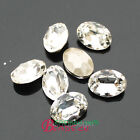 Vintage Rhinestone Faceted Pointed Foiled Back crystal oval Jewels pk size&qty
