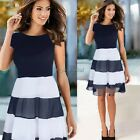 Women Colorblock Mesh Chiffon Striped Cocktail A Line Skater Tank Pleated Dress