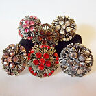 Ring Flower Rhinestone Big Bling Adjustable Adult Fashion Trendy Silver/Goldtone