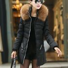 Women Duck Down Parka Coat Hooded Jacket Puffer Padded Faux Fur Winter Warm New