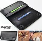 "Handmade Brussardo ""Grande"" Black Real Leather Case Wallet Apple iPhone 6 Plus"