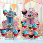 BLUE PINK 3 TIER CUPCAKE CAKE SERVING STAND PARTY FAIRY MUFFIN TABLE DECORATION
