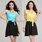 Women Lovely Candy Color Sleeveless Chiffon Party Cocktail Evening Mini dress