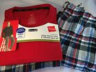 Mens Pajama sets plaid flannel bottoms pockets long slv knit tee top M L XL 2X