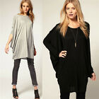 Women New Twisted Pleated Long Batwing Sleeve Loose Casual Tops Blouses T-Shirt