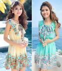 Flower Print Women's Sleeveless Chiffon Summer Skirt Beach Mini Dress Tops 35DI