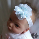 BABY STRETCH HEADBAND,BLUE / WHITE LACE FLOWER, Maggie 7 Design