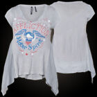 AFFLICTION Womens Top T-Shirt ROMAN Rhinestones Tattoo Biker UFC Sinful S-L $54