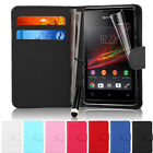 Flip Wallet Leather Case Cover For Sony Xperia E With Screen Protector
