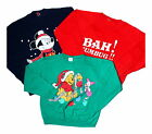 Vintage 80s 90s Christmas Retro Logo Disney Pooh Sweater Jumper 10 12 14 16 18