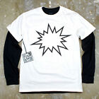 Mens Street Comic Bang Pow Minimal Hipster Graphic Layered Long Sleeve T Shirt