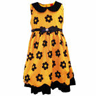 Girls Flower Print Sleeveless Dress With Collar and Belt Mustard 3-8 Years
