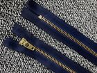 """Navy Closed End Brass Metal Zip 8"""" / 21.5cms Various Pack Sizes 8 Inch (Z1)"""