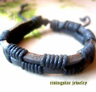 Men Cool Leather Hemp Braided Surfer Biker Hip Hop Character Bracelet Wristband