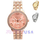 41mm Womens Crystal Decorated Round Quartz Wrist Watch,Bling Bling Bracelet