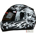 Viper Skull Full Face Motorcycle Motorbike Crash Helmet ACU Gold Approval Silver